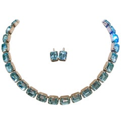 Mid-Century Weiss Sapphire Blue Austiran Crystal Choker Necklace & Earring S/3
