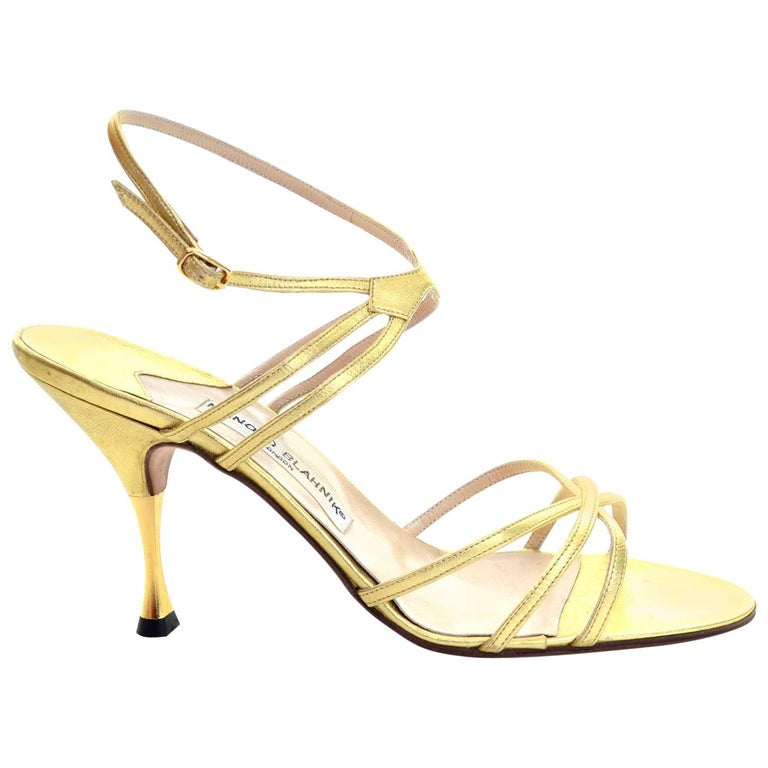 7a50ff7fd5d60c 1980s Manolo Blahnik London Shoes Rare Vintage gold Metallic Strappy Heels  39 For Sale at 1stdibs
