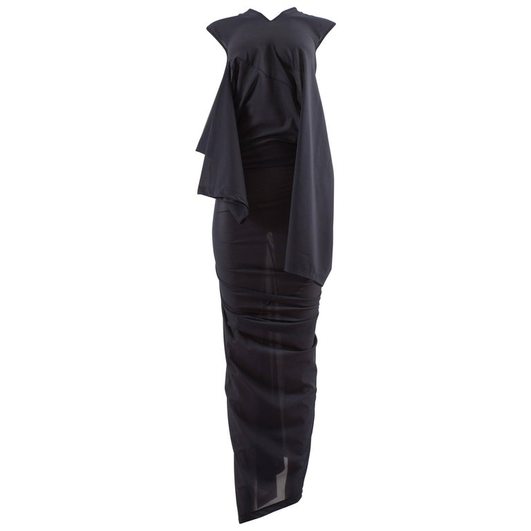Comme des Garcons AD 1996 four sleeve navy blue twisted sheer maxi dress