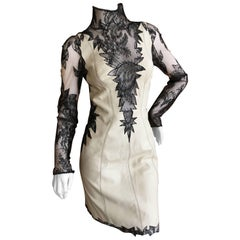Gianni Versace Couture 1980's Leather Dress with Sheer Lace Inserts