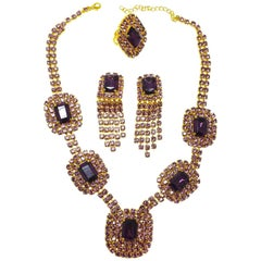 Rare Vintage Czech Amethyst Crystal Necklace, Drop Earrings & Ring