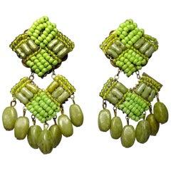 Vintage 1950s Miriam Haskell Peridot Color Bead Drop Earrings