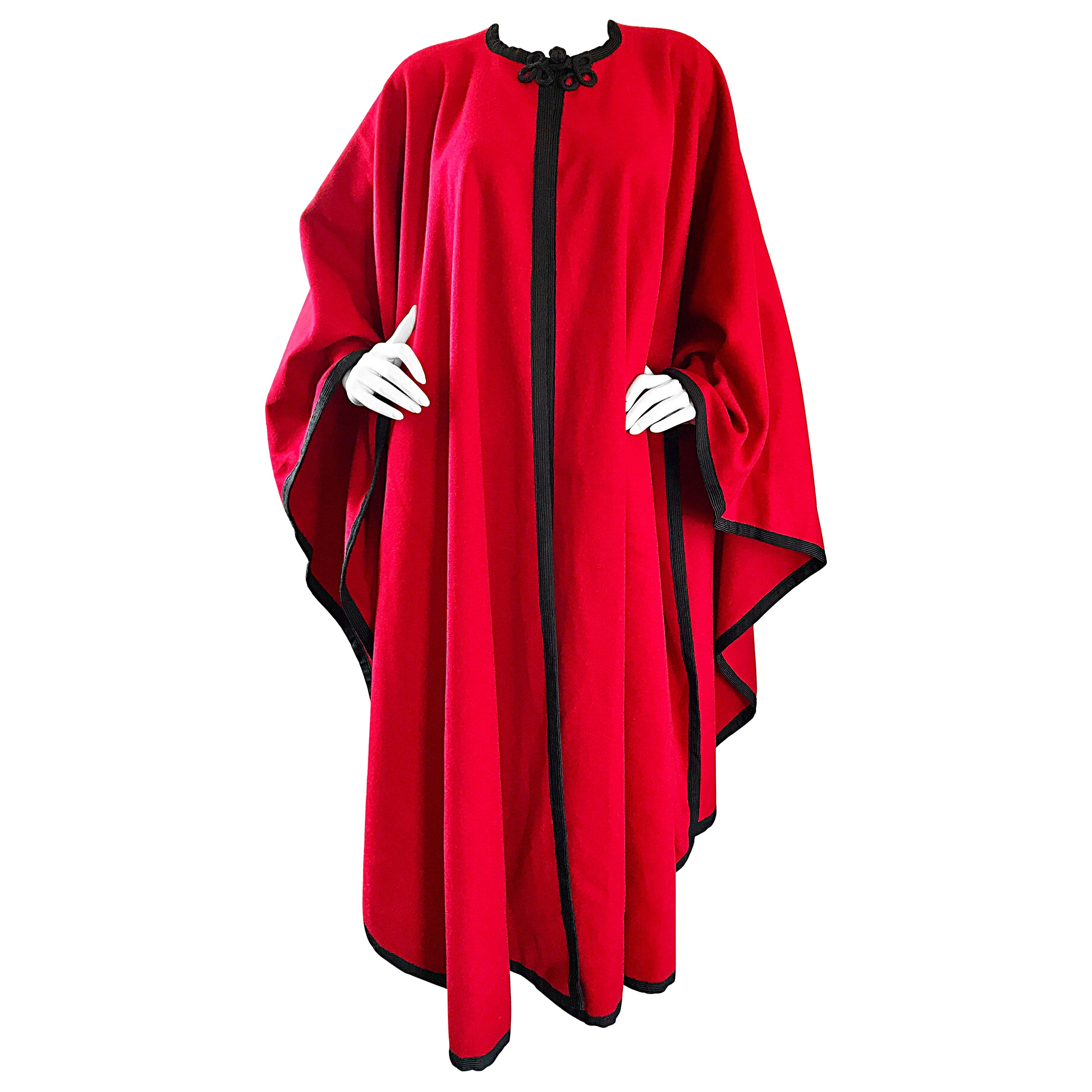 Rare Vintage Yves Saint Laurent Russian Collection 1970s Red Wool Cape Jacket