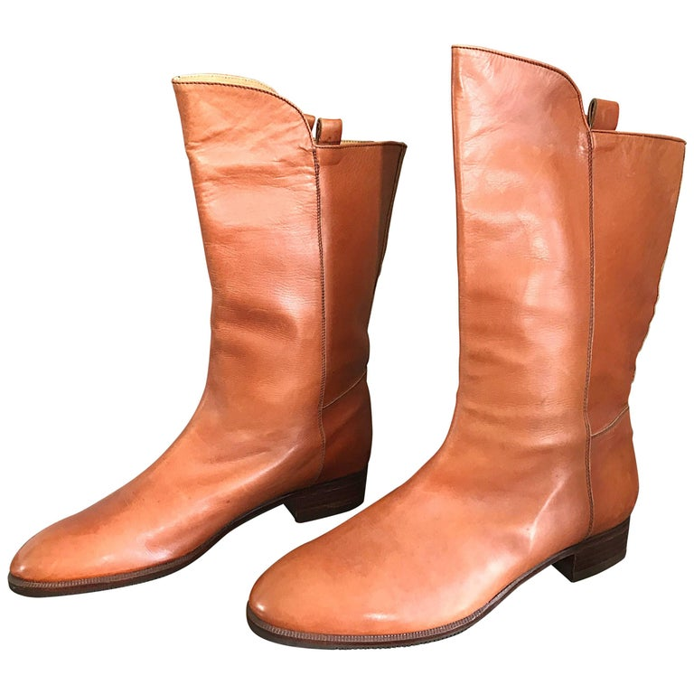 New 1980s Perry Ellis Size 6 Tan Saddle Leather Deadstock Calf Booties Boots For Sale