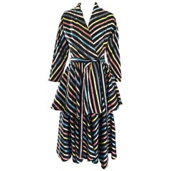 Amazing 1940s Maxan Cold SIlk Black Rainbow 3 Piece 40s Wrap Dress + Robe + Belt