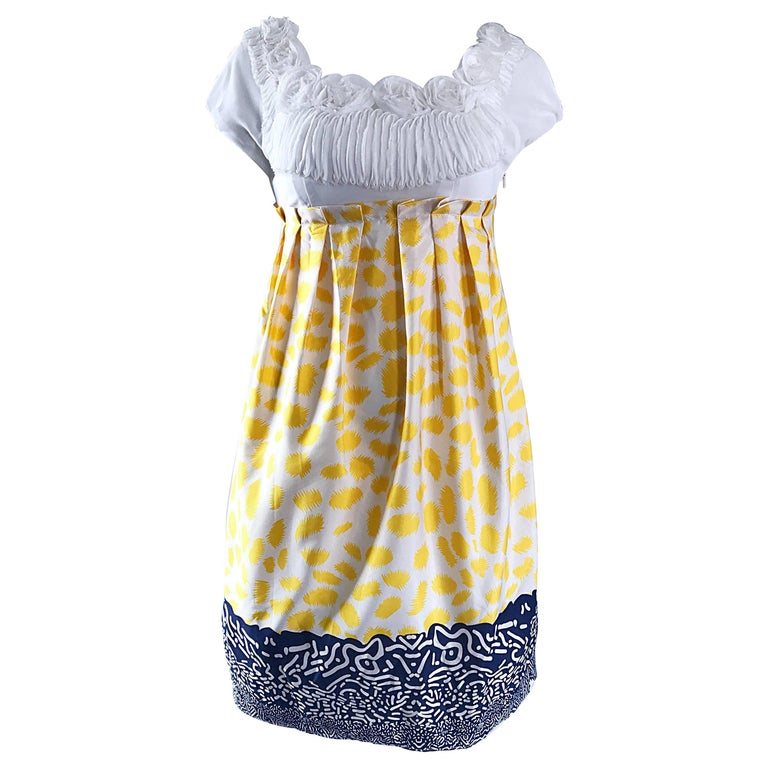 Marc Jacobs Collection White Yellow Blue Short Sleeve Size 2 Sac Nanydoll Dress