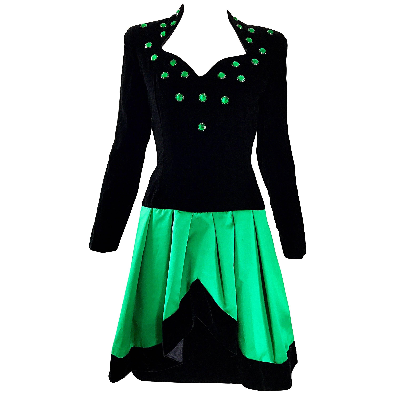 Lillie Rubin 1990s Emerald Green Black Size 8 Rhinestone Vintage Fit Flare Dress