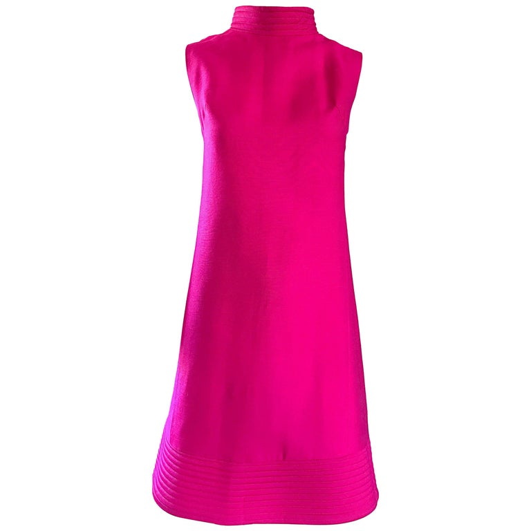 Chic 1960s Shocking Hot Pink Sleeveless Fuchsia Vintage High Neck Shift Dress