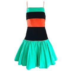 Amazing Vintage Barboglio Cristina + Jan Green Orange Black Color Block Dress