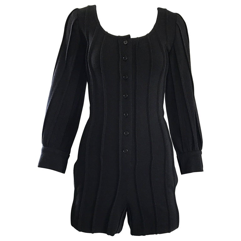 Vintage Givenchy Haute Couture Numbered Black Wool 80s Romper