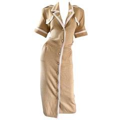 New 1990s St John by Marie Gray Deadstock Size 12 Khaki Tan + White Knit Dress