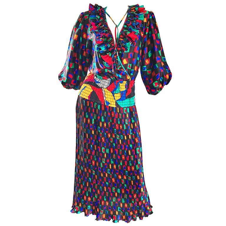 Diane Freis 1980s Colorful Mosaic Print Boho Ruffle Vintage 80s Midi Dress For Sale