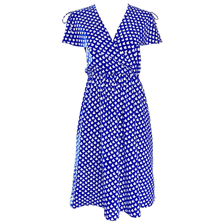 Vintage Pierre Cardin 1970s Blue + White Heart Print Flutter Sleeve 70s Dress
