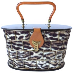 1950's Dorset Rex Cage Bag with Lucite and Faux Leopard. Large Scale.