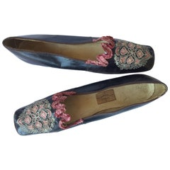 Antique Embroidered and Beribboned Shoes. French. 1840's.