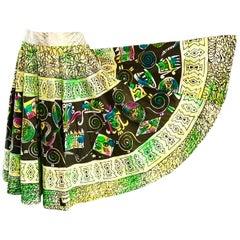 Rare 1950s Hand Painted Mexican Mayan Aztec Print Vintage 50s Full Circle Skirt