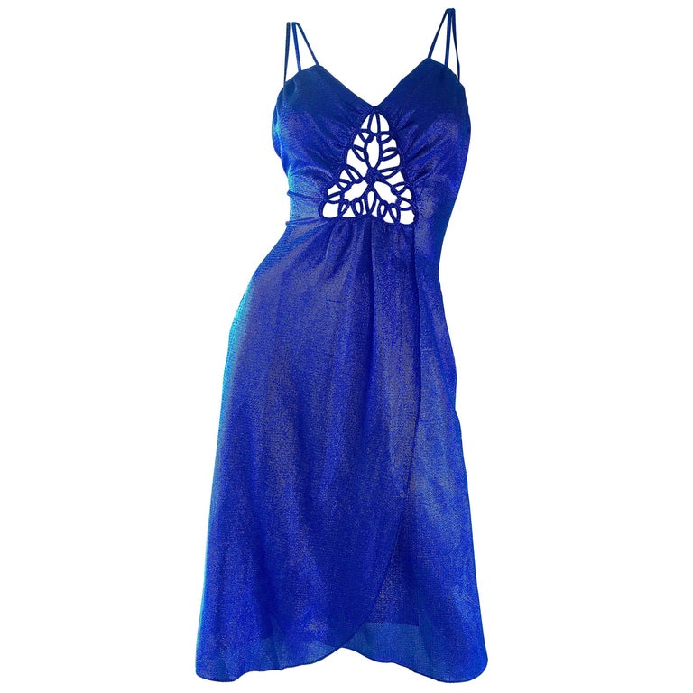 1970s Samir Sexy Electric Blue Metallic Cut - Out Slinky Vintage 70s Disco Dress For Sale