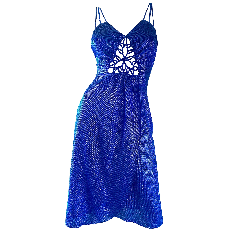 1970s Samir Sexy Electric Blue Metallic Cut - Out Slinky Vintage 70s Disco Dress