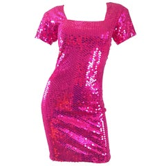 Sexy 1990s Hot Pink Fully Sequined Fuchsia Bodycon Vintage 90s Mini Dress