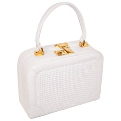 C.1990 Judith Leiber White Leather Box Handbag With Convertible Handles