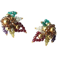 Multi coloured beaded 'paisley style' earrings, Coppola e Toppo, 1960s