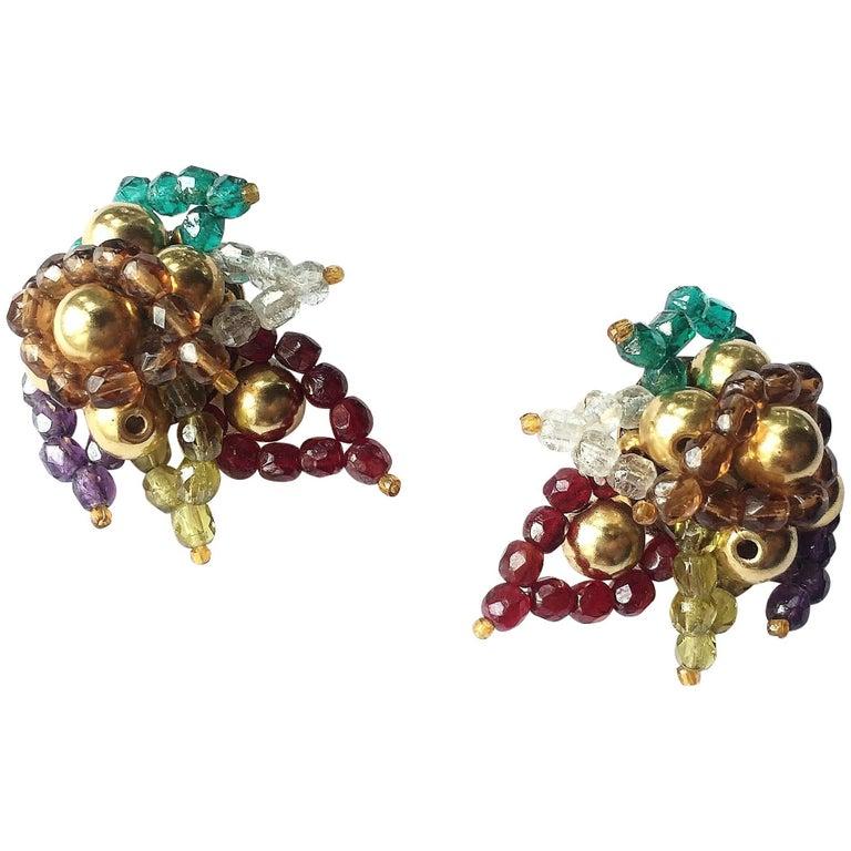 Multi coloured beaded 'paisley style' earrings, Coppola e Toppo, 1960s For Sale