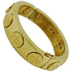 Christian Dior Vintage Gold Toned Signature Monogram Bangle Bracelet