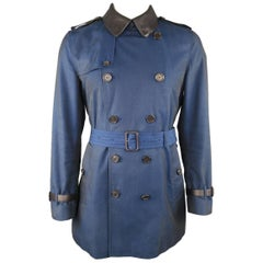 Men's BURBERRY LONDON 42 Navy Blue Sharkskin Cotton & Black Leather Trenchcoat