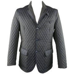 Men's ETRO 42 Navy Quilted Paisley Polyester 3 Button Sport Coat Jacket