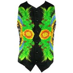 Vintage GIANNI VERSACE 38 Black MIAMI FLORIDA USA Tropical Sun Print Vest