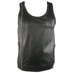 Men's RICK OWENS Size M Black Leather Lace Up Zip Tank Top Vest