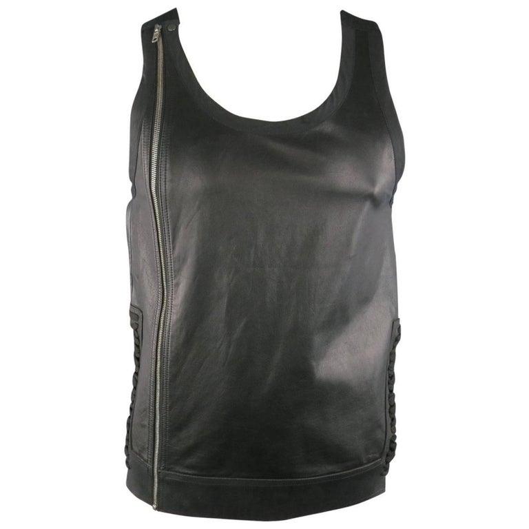 Men's RICK OWENS Size M Black Leather Lace Up Zip Tank Top Vest 1