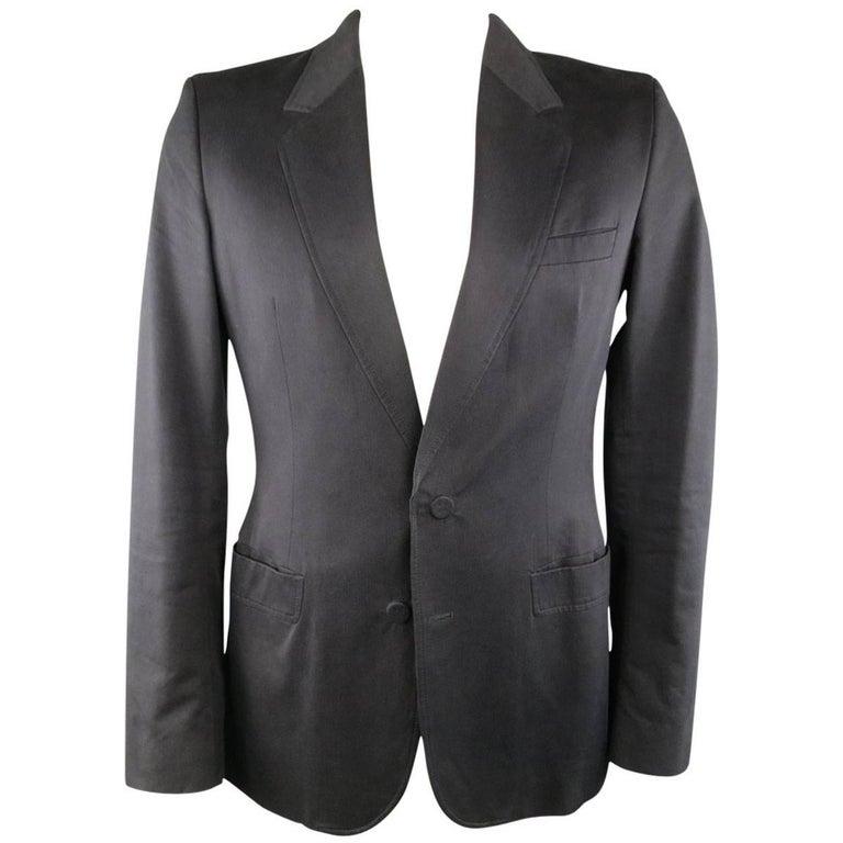 MAISON MARTIN MARGIELA 42 Black Cotton Blend Faux Button Sport Coat