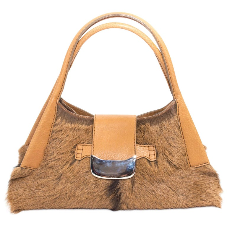 Tod's Goat Fur and Leather Hobo Handbag