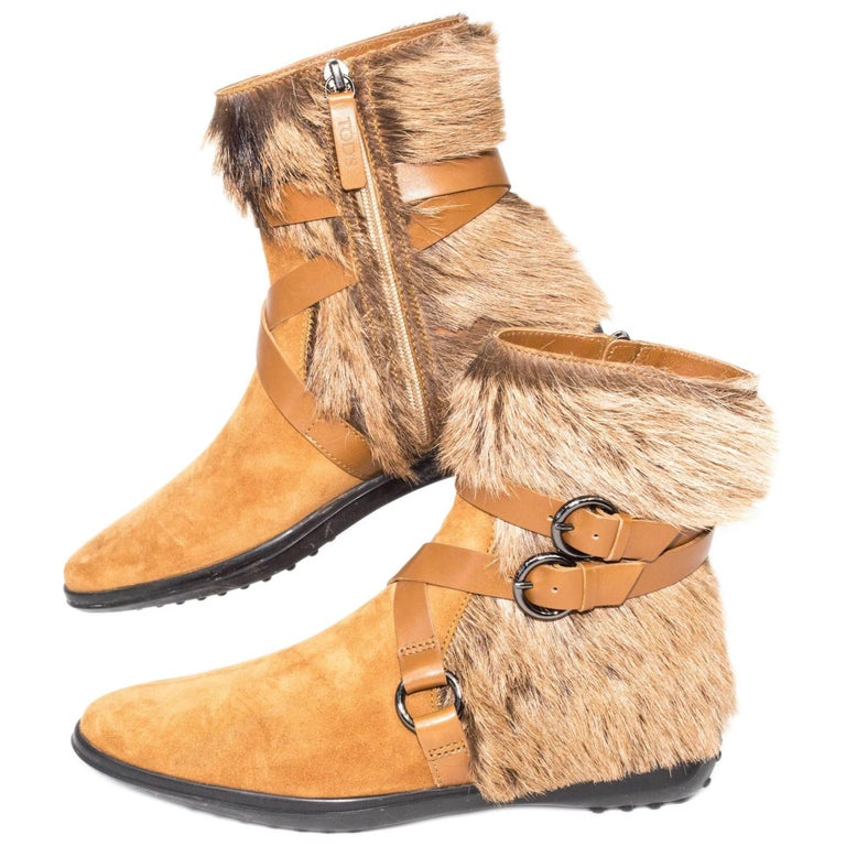 Tod's Goat Fur and Leather Buckle Boots