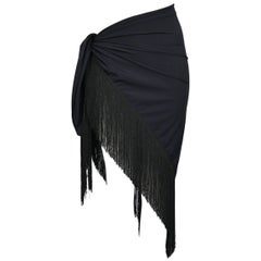 Chic Dior Black Sarong Wrap With Fringe - Swimsuit cover up + After Swim