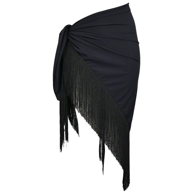 Chic Dior Black Sarong Wrap With Fringe Swimsuit Cover