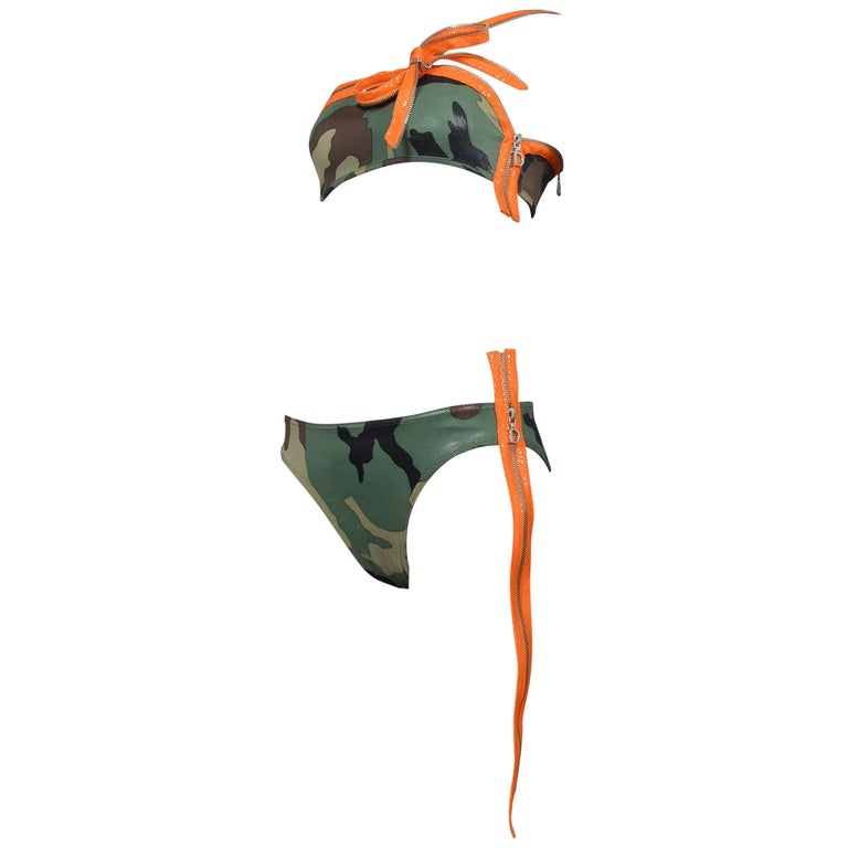 Iconic Dior By John Galliano Camouflage & Zipper Bikini 2001 Never Worn!  1