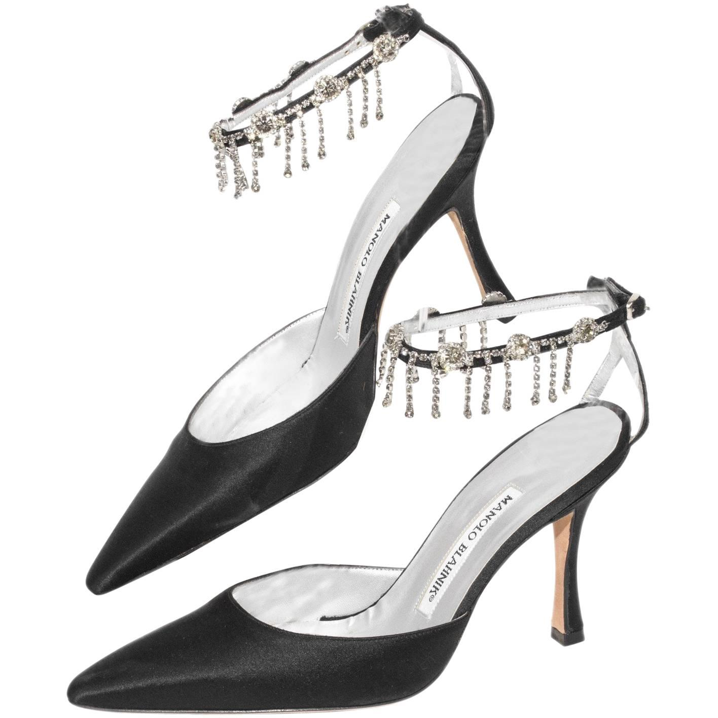 Manolo Blahnik Black Satin Pointy Toe Heel With Rhinestone Ankle Strap