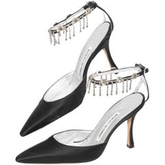Manolo Blahnik Black Satin Pointy Toe Heel With Rhinestone Ankle Strap