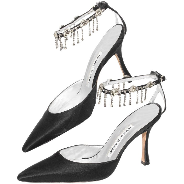cf778da6fac8f3 Manolo Blahnik Black Satin Pointy Toe Heel With Rhinestone Ankle Strap For  Sale at 1stdibs