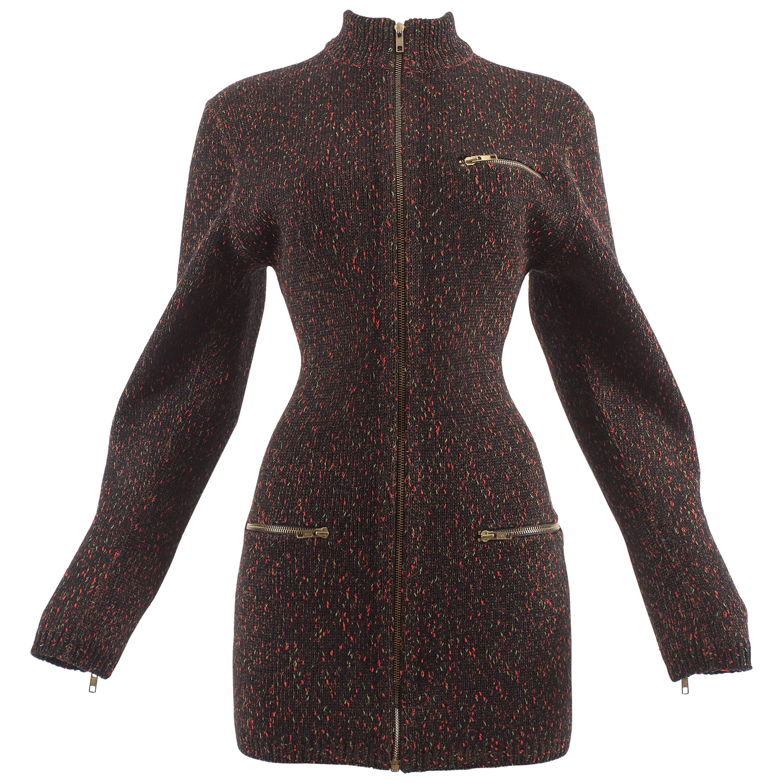 Alaia Autumn-Winter 1986 knitted zipper mini dress