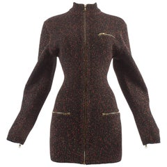 Alaia Autumn-Winter 1986 knitted zipper mini dress