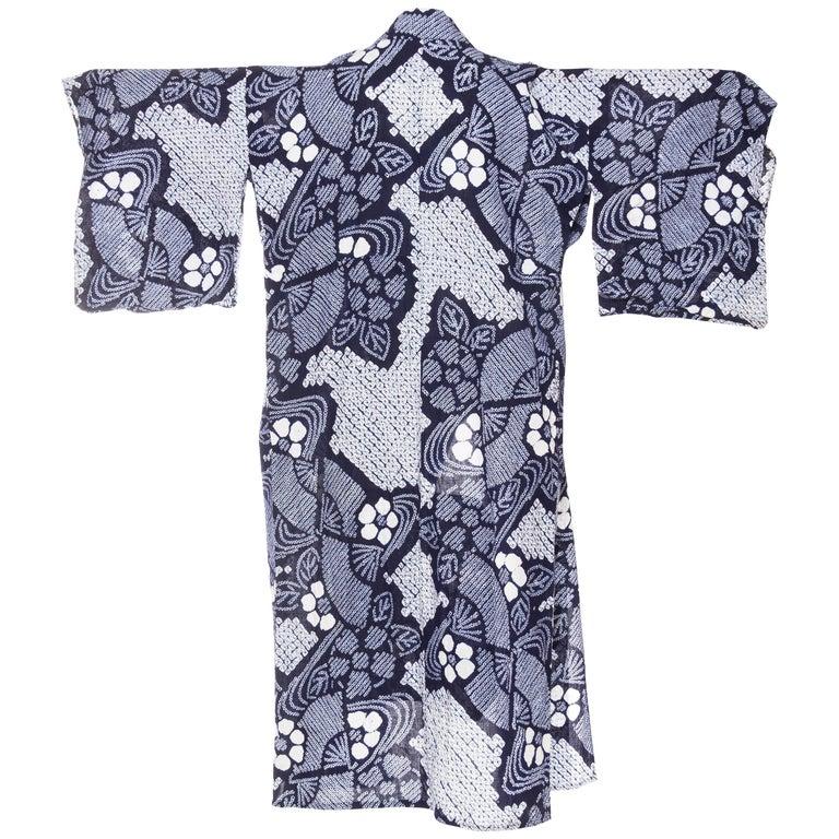Very Rare Cotton Indigo Shibori Kimono For Sale