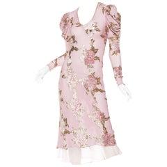 Soft Chiffon, Velvet and Lurex Bias Dress