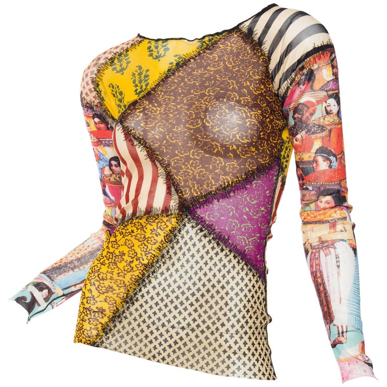 Jean Paul Gaultier Sheer Deconstructed Patchwork Mesh Top