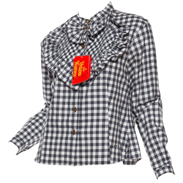 Vivienne Westwood Gingham Ruffled Heart Blouse NWT