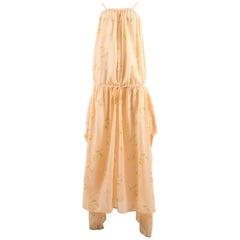 Kenzo Jap Spring-Summer 1977 floral peach cotton drawstring dress