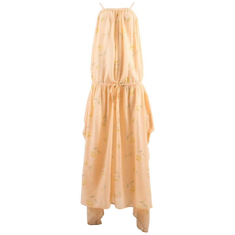 Kenzo Jap Spring-Summer 1977 floral peach cotton drawstring dress