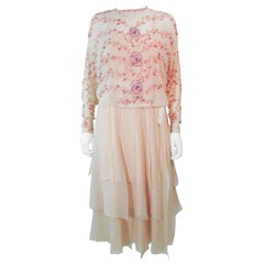 MAGGY REEVES Nude Silk Chiffon 2pc Gown Ensemble with Sequins & Beading Size 4